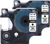 2x Compatible voor Dymo 45803 Standard Label Tape - Zwart op Wit - 19mm