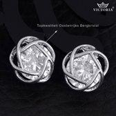 Victoria - Zilverkleurige Oorbellen - Oostenrijks Bergkristal