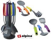 Alpina Keukengerei met Rek - 7-delig - soeplepel, bakspaan, keukenspatel, serveerlepel, spaghettilepel en schuimspaan op rek