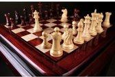 Moderne Staunton schaakset met verzwaarde schaakstukken, incl. bord, Rozenhout & Palmhout, Koningshoogte 87 mm