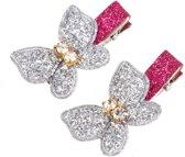Vlinder Glitter haarspeldjes Zilver