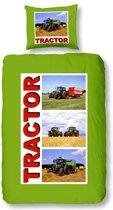 Snoozing Tractor - Flanel - Dekbedovertrek - Eenpersoons - 140x200/220 cm + 1 kussensloop 60x70 cm - Groen