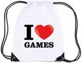Nylon I love games rugzak/ sporttas wit met rijgkoord