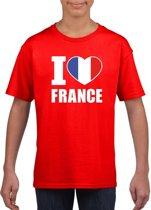 Rood I love France supporter shirt kinderen - Frankrijk shirt jongens en meisjes M (134-140)