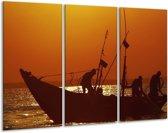 Canvas schilderij Boot | Bruin, Oranje | 120x80cm 3Luik