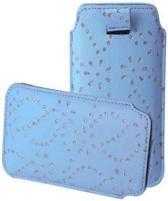 Bling Bling Sleeve voor uw Point Of View Mobii Phone 5045, Blauw, merk i12Cover