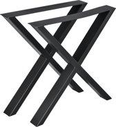 Stalen X - tafelpoot meubelpoot 2 stuks set 69x72cm zwart