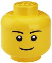 LEGO Hoofd Boy Opbergbox - Klein -  H 19 x B 16 cm - Geel