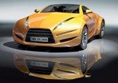 Fotobehang Auto | Geel, Grijs | 152,5x104cm