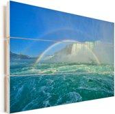 Twee regenbogen midden in de Niagarawatervallen Vurenhout met planken 120x80 cm - Foto print op Hout (Wanddecoratie)