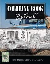 Classic Truck Jumbo Car Sketch Grayscale Photo Adult Coloring Book, Mind Relaxation Stress Relief