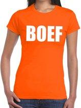 Boef tekst t-shirt oranje dames L