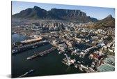 Luchtfoto van de Zuid-Afrikaanse stad Kaapstad Aluminium 180x120 cm - Foto print op Aluminium (metaal wanddecoratie) XXL / Groot formaat!