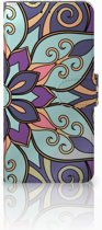Samsung Galaxy A8 Plus (2018) Boekhoesje Design Purple Flower