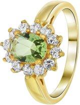 Lucardi - Nouveau Vintage - Goldplated ring crysolite met zirkonia