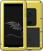 Metalen fullbody hoes voor Sony Xperia XZ3, Love Mei, metalen extreme protection case, zwart-geel