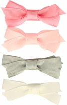 Setje haarspeldjes met strik pastel - Small 4 cm | Roze, Grijs | Baby, Meisje