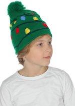 Muts met kerstlichtjes groen