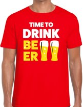 Time to drink Beer heren shirt rood - Heren feest t-shirts L