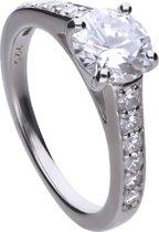 Diamonfire - Zilveren ring met steen Maat 18.0 - Solitaire met bezette band