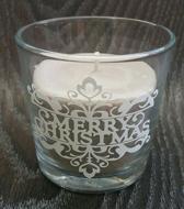 """Bruine geur kaars (kaneel en vanille) met de tekst """"Merry Christmas"""""""