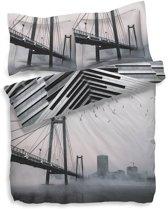 Heckett & Lane Nari - Dekbedovertrek - Eenpersoons - 140x200/220 cm + 1 kussensloop 60x70 cm - Cloudburst Grey