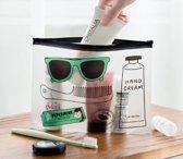 Travel Toilettas - Reis Toilet Tas Bag en Travel Organizer voor Kamperen Vakantie & Reizen | Creative Design | Transparant met leuke designs |