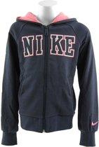 Nike Athletic Fullzip Hoody - Sporttrui - Kinderen - Maat 128 - 140 - Dark Blue;White;Pink