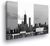 Urban City Black White Canvas Print 100cm x 75cm