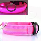 OWO - Honden halsband met led verlichting - roze/medium 36-48cm