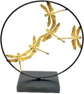 Decoratief libelle ornament - metaal - 8 x 23 x 25 - dieren