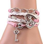 Fako Bijoux® - Multi Armband - Ketting Hart Love - Roze/Wit