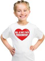 Huwelijksaanzoek t-shirt Wil je met papa trouwen wit kinderen M (134-140)