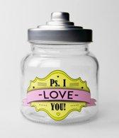 Valentijn - Snoeppot - I love You - Gevuld met luxe verpakte toffees - In cadeauverpakking met gekleurd lint