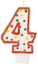 Amscan Verjaardagskaars 4 - Polka Dots 7,6 Cm Oranje/wit