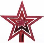 Rode kerstboom ster piek van kunststof 20 cm - Kerstboomversiering rood