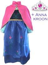 Anna jurk Frozen jurk - Prinsessenjurk - Met roze cape maat 104-110 (120) + Gratis KROON