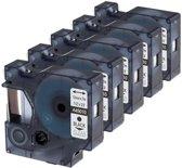 5x Compatible voor Dymo D1 45010 Standard Label Tape - Zwart op Transparent - 12mm x 7m