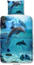 Good Morning 5586-P Dolfijn - Kinderdekbedovertrek - 140x200/220cm - Blauw