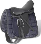 """vidaXL Echt lederen paardrijzadel 17.5"""" 18 cm (5-in-1 set. zwart)"""