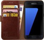 Rosso Element Samsung Galaxy S7 Hoesje Book Cover Bruin   Ruimte voor drie pasjes   Opbergvakje voor briefgeld   Handige stand functie   Magneetsluiting
