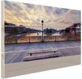 Pont des Arts Parijs Hout 80x60 cm - Foto print op Hout (Wanddecoratie)