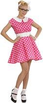 """Roze jaren 50 jurk met witte stippen - Verkleedkleding - Large"""