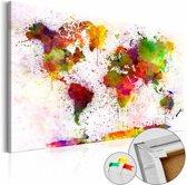 Afbeelding op kurk - Artistieke wereld, wereldkaart