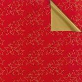 Toonbankrol.nl - Cadeaupapier op rol - Kerst Rode ster 2-zijdig - 50cm - 250m - 80gr