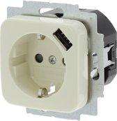 Busch-Jaeger SI Inbouw Wandcontactdoos USB  - 1-voudig - Randaarde - Crème
