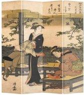 Orientique Kamerscherm 4 Panelen Japanse Vrouwen Kalligrafie Kiyonaga Canvas Room Divider Scheidingswand