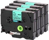 4 Pack Compatible Label Tape TZe-731 / TZ-731 Zwart op Groen 12mm X 8m voor Brother GL-100, PT-1000, PT-1000BM, PT-1010, PT-1010B, PT-1010NB Label Printer