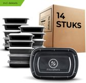 Fitcrafters Meal Prep Bakjes - 14 stuks - 1000 ml - Zwart/Transparant