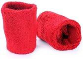 Pols zweetbandjes rood voor volwassenen 2 stuks